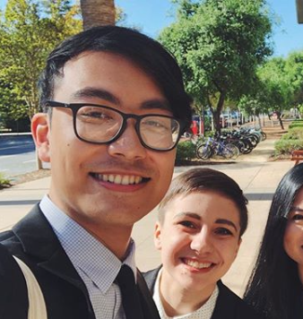 Alexander Robateau (left; City, '18) won an award for his presentation at Stanford Undergraduate Research Conference.