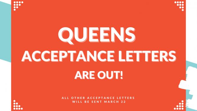 Acceptance Letters Go Out March 22